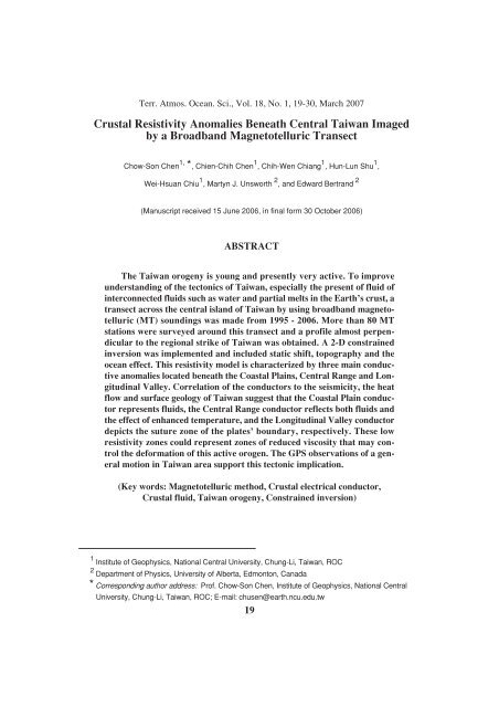 Crustal Resistivity Anomalies Beneath Central Taiwan Imaged by a ...