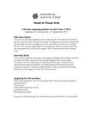 Head of Visual Arts - International Grammar School