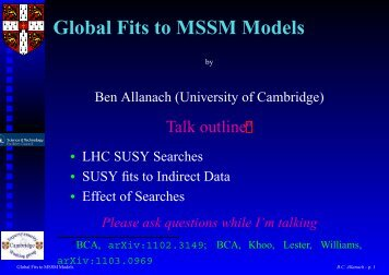 Global Fits to MSSM Models - Elementary Particle Physics Group