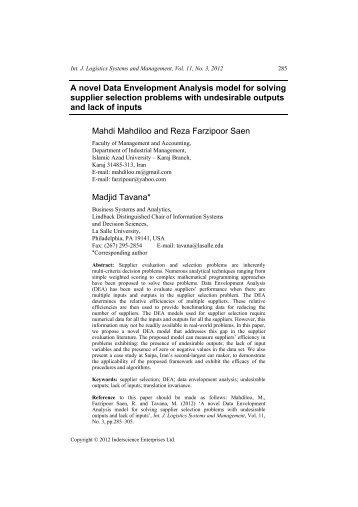 A novel Data Envelopment Analysis model for ... - IngentaConnect