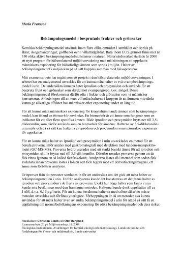 Bekämpningsmedel i besprutade frukter och grönsaker - IT - Lunds ...