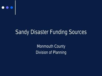 Sandy Disaster Funding Sources - Monmouth County
