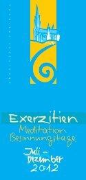Exerzitienkalender 2012 - zweites Halbjahr - Erzbistum Freiburg