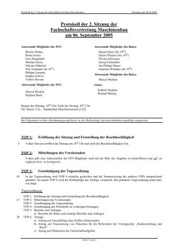 Protokoll der 2. Sitzung der Fachschaftsvertretung Maschinenbau ...