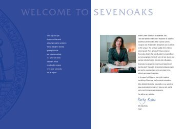 WELCOME TO - Sevenoaks School