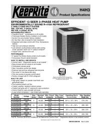EFFICIENT 13 SEER 3-PHASE HEAT PUMP Product Specifications