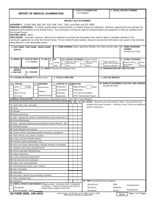 Dd Form 2808 Report Of Medical Examination January 2003