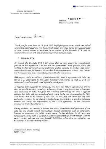 May 16, 2011 letter from Karl De Gucht to Andris Piebalgs