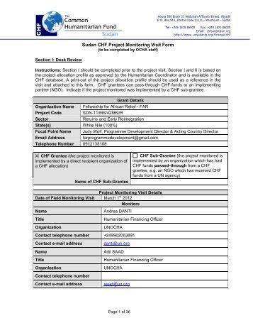 Sudan CHF Project Monitoring Visit Form - OCHANet