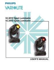 VL3015 / VL3515 Spot Luminaires User's Manual (Rev. A) - Vari-Lite