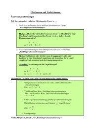 Gleichungen und Ungleichungen