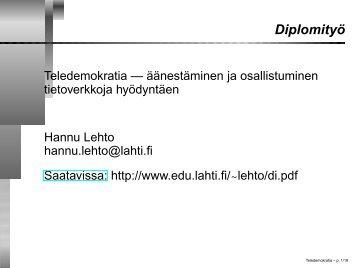 Diplomityöesitelmä - Lahti