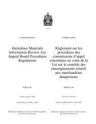 Règlement sur les procédures des commissions d ... - Lois du Canada