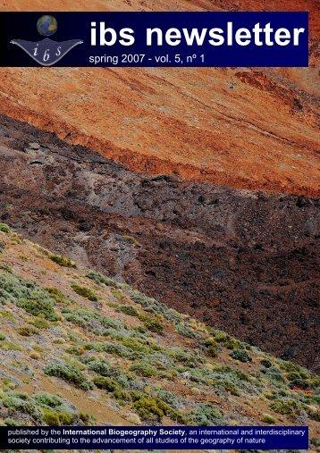 IBS Newsletter 5_1 Spring07.pub - The International Biogeography ...