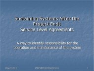 Sustaining Systems After the Project Ends