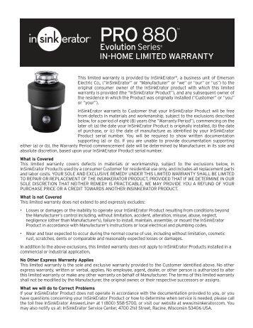 Evolution PRO 880 Warranty - InSinkErator
