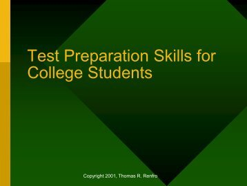 Test Preparation Skills for College Students