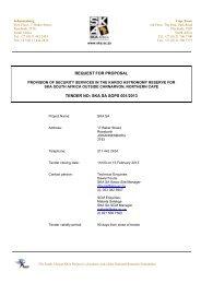 REQUEST FOR PROPOSAL TENDER NO: SKA SA SOPS 001/2013
