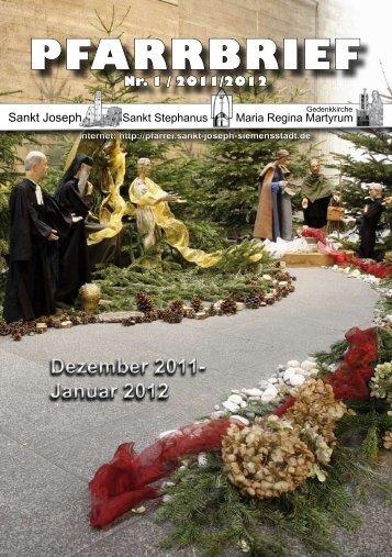 Januar 2012 PFARRBRIEF - St. Joseph, Siemensstadt