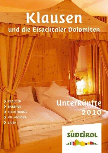 Unterkünfte 2010 - Tourismusverein Klausen
