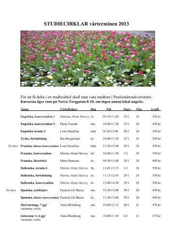 Kursprogram våren 2013 - Folkuniversitetet