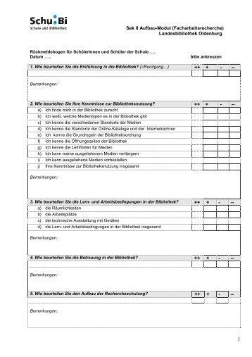 Sek II Aufbau-Modul (Facharbeitsrecherche) - Schule und Bibliothek