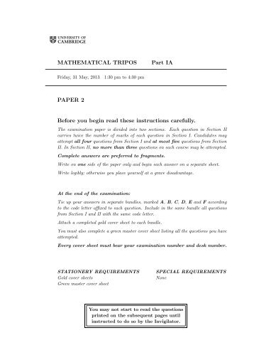 MATHEMATICAL TRIPOS Part IA PAPER 2 Before you begin read ...