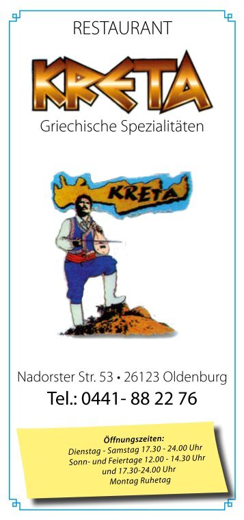 RESTAURANT Tel.: 0441- 88 22 76 - Die griechischen Restaurants ...