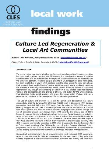 Culture Led Regeneration & Local Art Communities - CLES