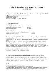 výroční zpráva nakladatelství sefer za rok 2011 - Federace ...