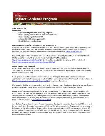 April 2010   Master Gardener Program
