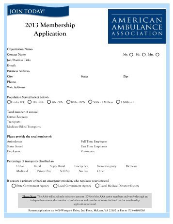 2013 Membership Application - American Ambulance Association
