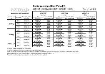 Ceník Mercedes-Benz Vario FG - Mercedes-Benz PRAHA