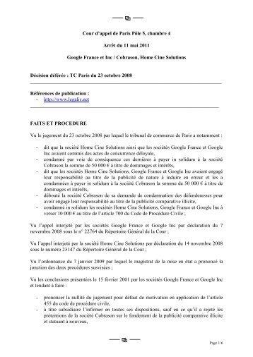 Cour DAppel De Paris Ple   Chambre  Arret Du