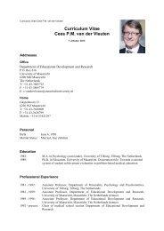 Curriculum Vitae Cees P.M. van der Vleuten - Maastricht University