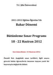 Bahar Dönemi Bütünleme Sınav Programı 18 - 22 ... - Şifa Üniversitesi
