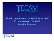"""""""Estudo de Potencial de Irritação Ocular"""" 23 de novembro de 2009 ..."""