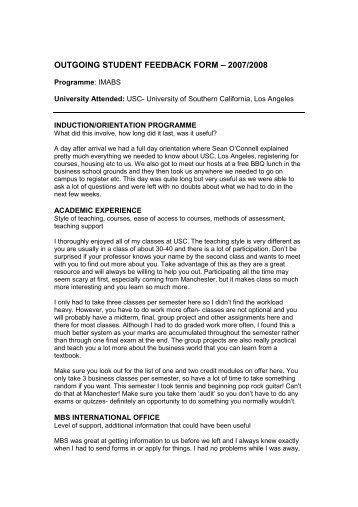OUTGOING STUDENT FEEDBACK FORM âu20acu201c 2007/2008