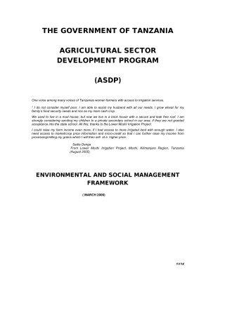 ASDP: Environmental And Social Management Framework