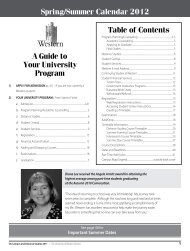 A Guide to Your University Program Table of Contents Spring ...