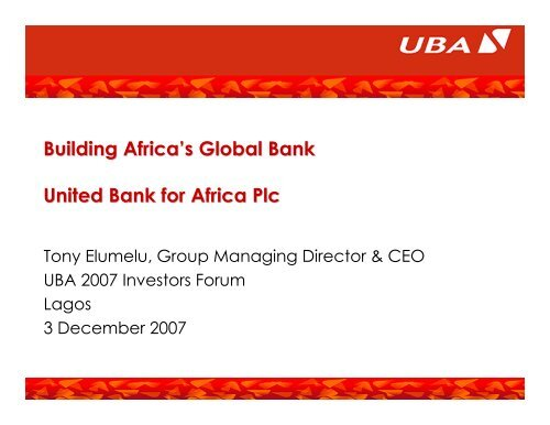 2007 Investor Forum - UBA Plc