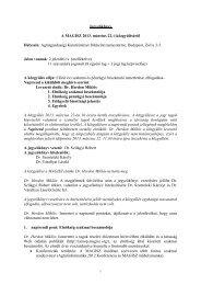Jegyzőkönyv A MAGISZ 2013. március 22.-i közgyűléséről Helyszín ...