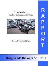 Veiski Kraftverk, Sørfold kommune, Nordland. Konsekvensvurdering.