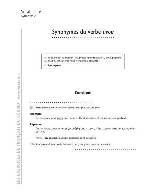 Les Synonymes Du Verbe Avoir Ccdmd