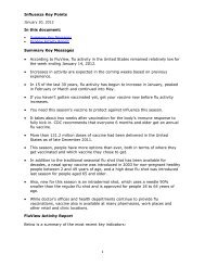 Influenza Key Points 1 In this document: Summary Key Messages ...