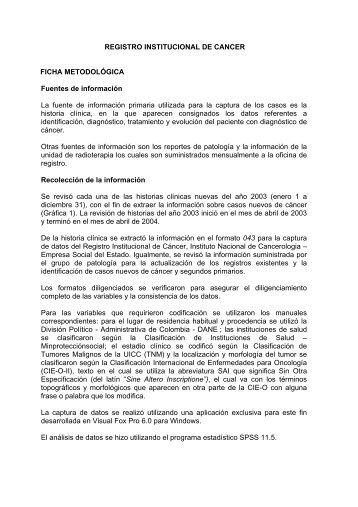 Ficha metodológica - Instituto Nacional de Cancerología