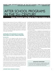 after school programs in the 21ST century - Harvard Family ...
