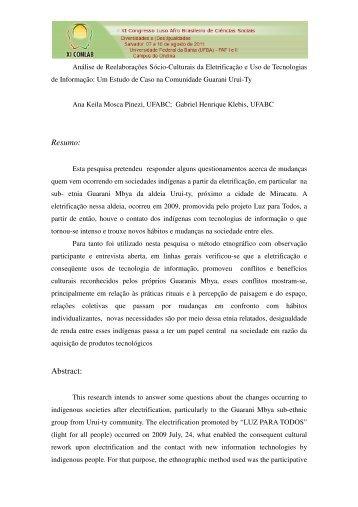 Resumo - XI Congresso Luso Afro Brasileiro de Ciências Sociais