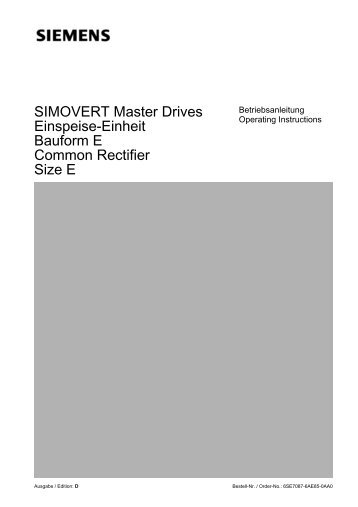 SIMOVERT Master Drives Einspeise-Einheit Bauform E Common ...