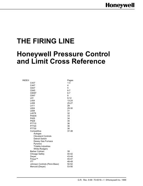 Honeywell C6097B1002 Pressure Switch Pressure Control and Limit